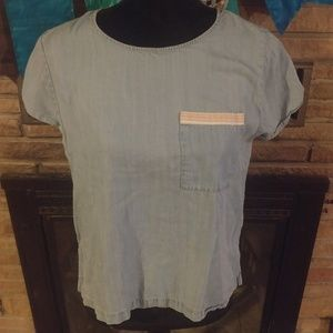 Anthropologie paper crane chambray top